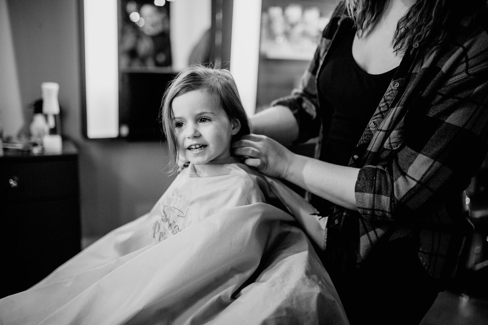 Black and white toddler photography first haircut sweet and sassy