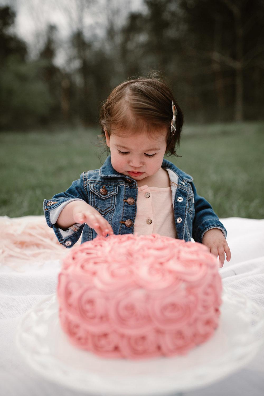 Toddler girl in a jean jacket examines her pink birthday cake at Red Rock Overlook in Leesburg, VA