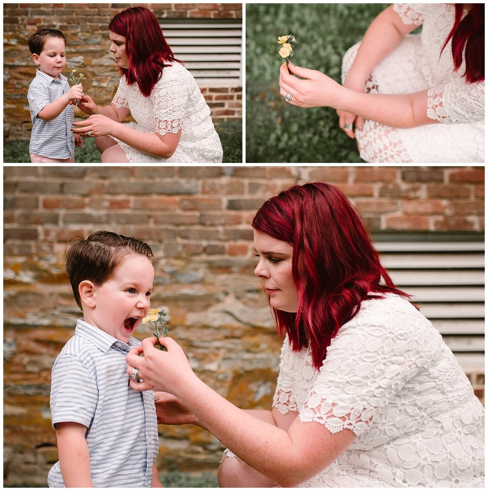 Young boy hands his mom flowers at Aldie Mill in Northern Virginia Lifestyle Family Photography