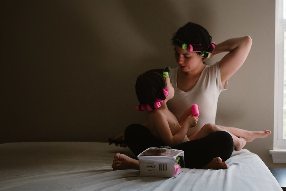 mother and daughter in curlers lifestyle self portrait ashburn virginia