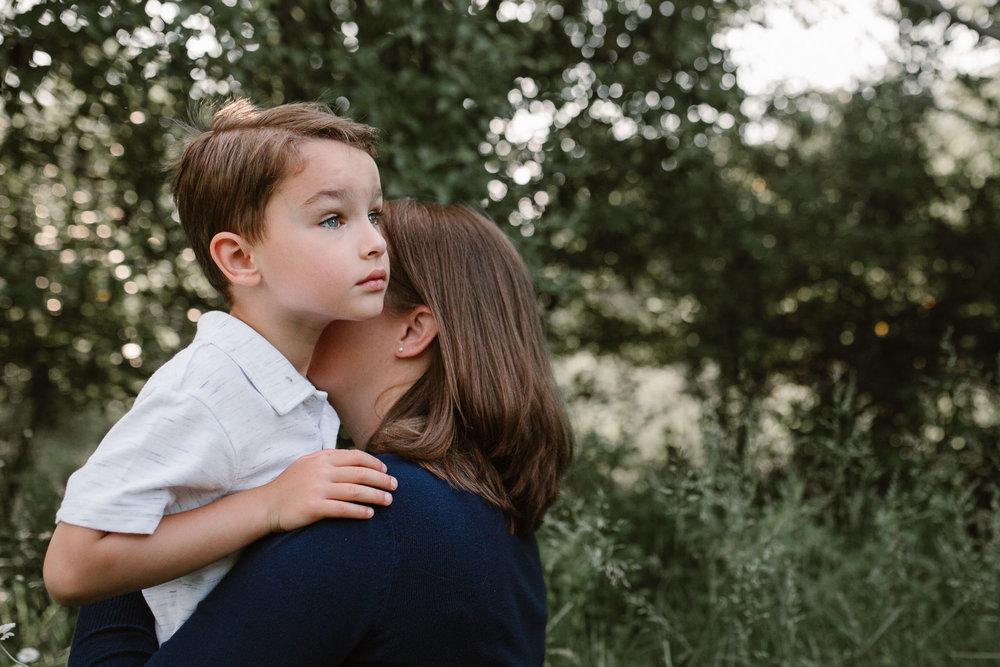 mom and son hug  at Bles Park in Ashburn, Virginia