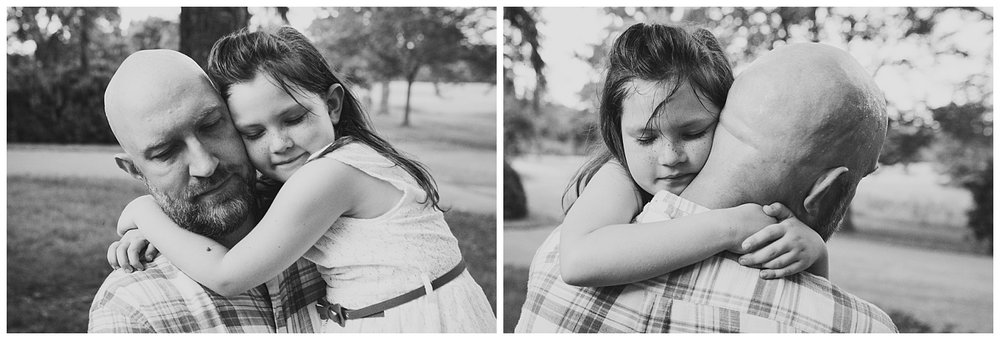 black and white; Collage of young girl giving her dad a big hug at Morven Park in Leesburg, Virginia