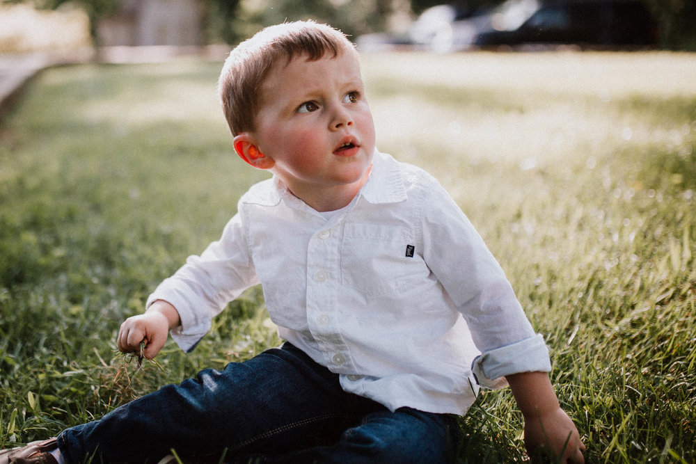 Portrait of a toddler boy at Cabell's Mill in Chantilly, Virginia