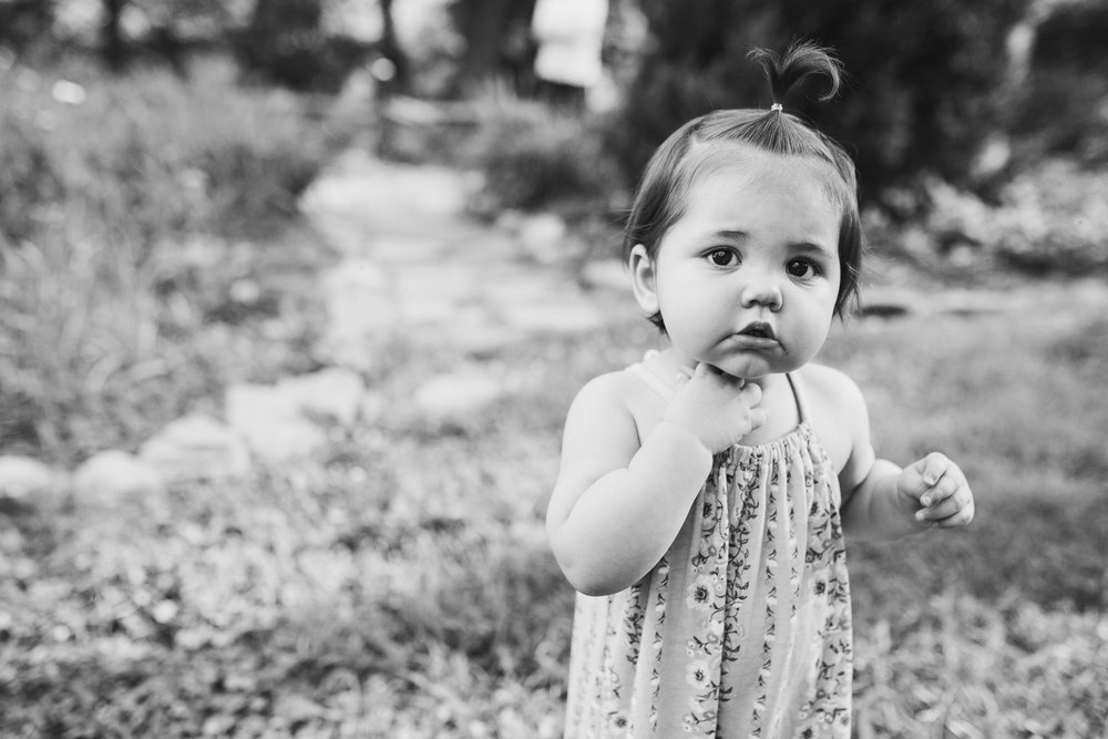 black and white portrait of a toddler girl