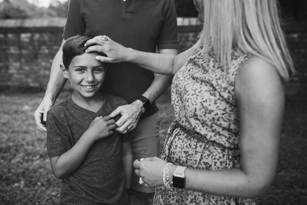 black and white family of three mother father son lifestyle photography Marti Austin Photography Morven Park Leesburg Virginia
