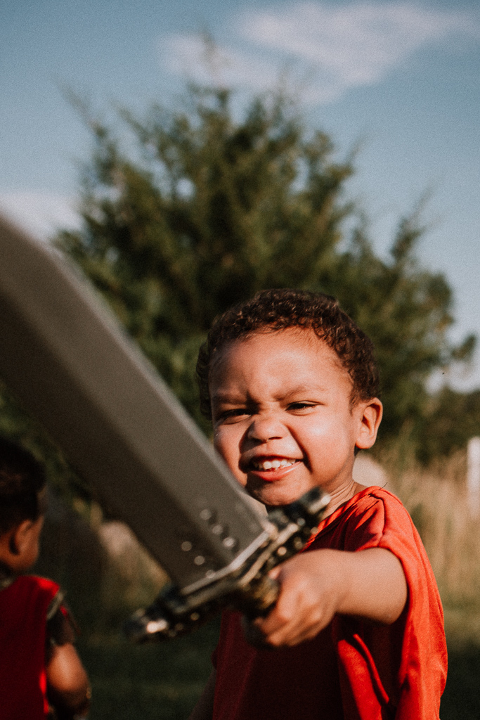 Toddler boy sword warrior gladiator fighter lifestyle childhood photography Beaverdam Run Ashburn Virginia Loudoun County Marti Austin Photography TGHP The Gold Hope Project