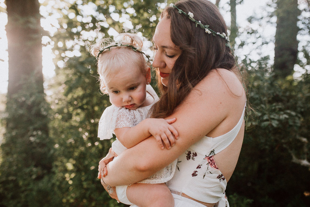 mother daughter toddler flower crown golden sunset family lifestyle photography Marti Austin Photography Rust Nature Sanctuary Leesburg Loudoun Virginia