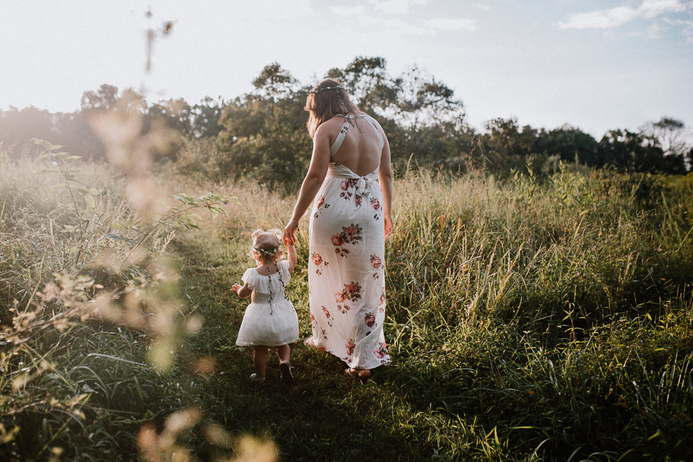 mother daughter toddler walk field sunset family lifestyle photography Marti Austin Photography Rust Nature Sanctuary Leesburg Loudoun Virginia
