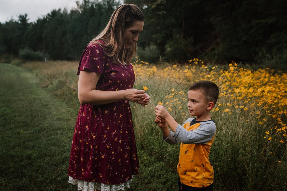 mother son wildflowers Claude Moore Park Heritage Farm Museum Sterling Virginia Lifestyle Documentary Fall Family Marti Austin Photography