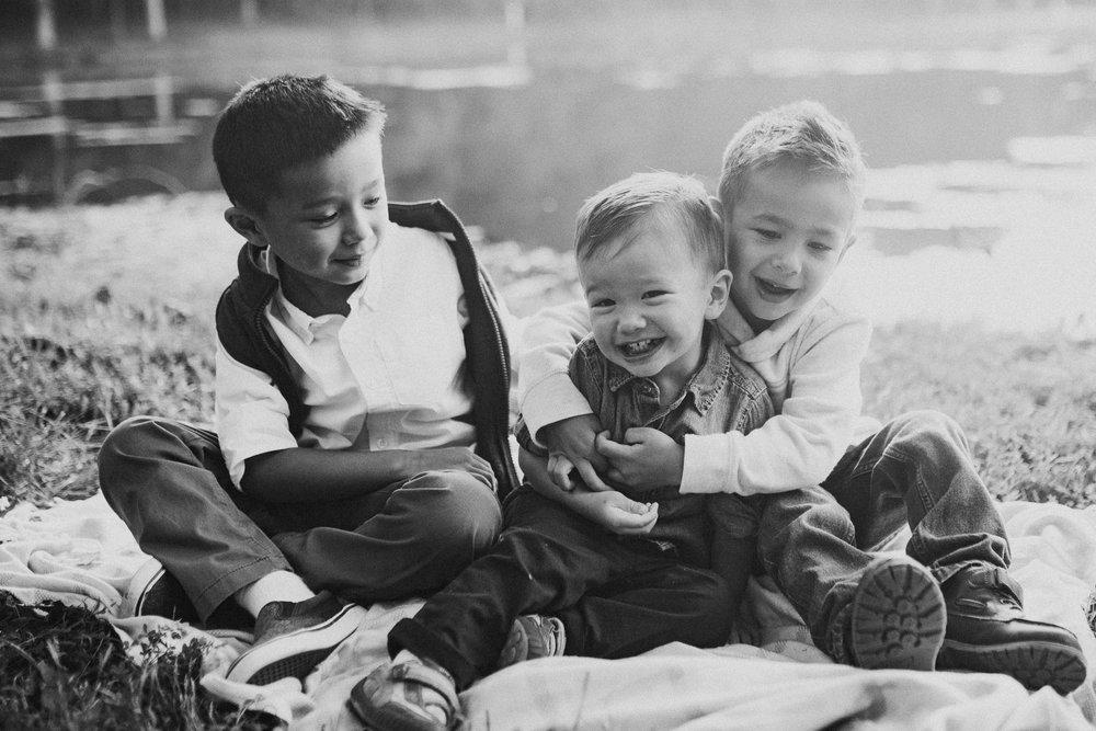 Black and white Siblings Brothers Family Lifestyle Documentary Sunset Golden Hour Izaak Walton League Leesburg Loudoun Virginia Marti Austin Photography