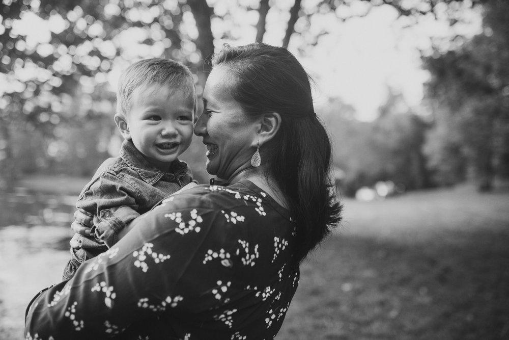 Black and white mother son toddler Family Lifestyle Documentary Sunset Golden Hour Izaak Walton League Leesburg Loudoun Virginia Marti Austin Photography