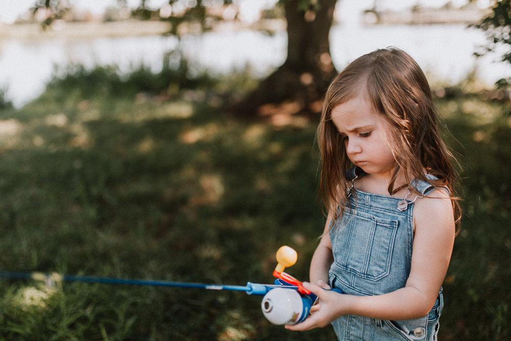 Fishing Lake Toddler Girl Ashburn Virginia Lifestyle Documentary Family Marti Austin Photography