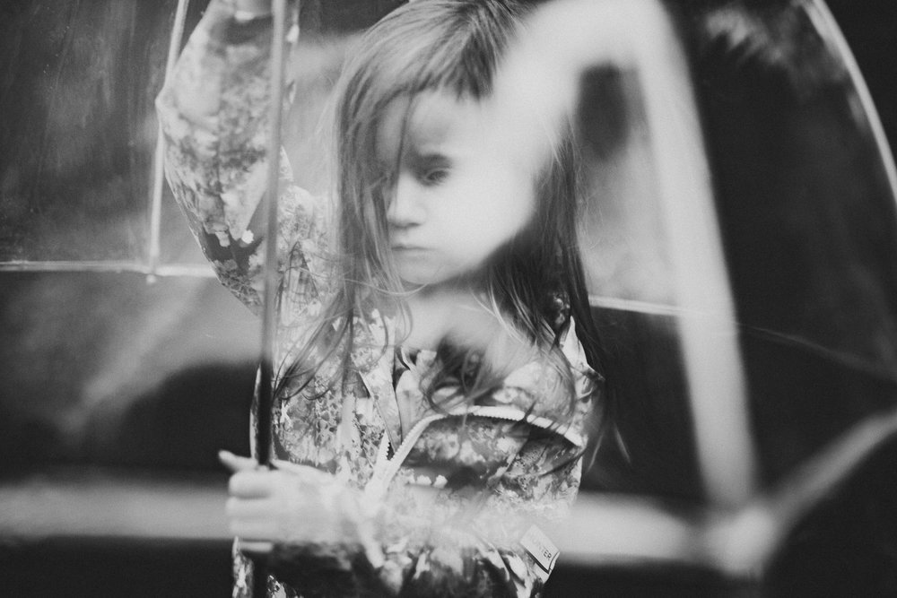 Black and white umbrella Toddler Girl Ashburn Virginia Lifestyle Documentary Family Marti Austin Photography