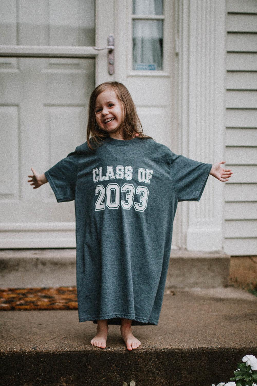 Class of 2033 shirt preschool Toddler Girl Ashburn Virginia Lifestyle Documentary Family Marti Austin Photography