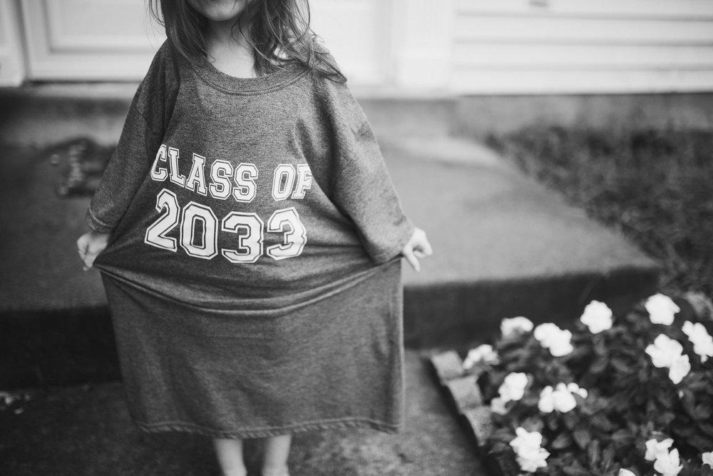 black and white class of 2033 shirt Toddler Girl Ashburn Virginia Lifestyle Documentary Family Marti Austin Photography