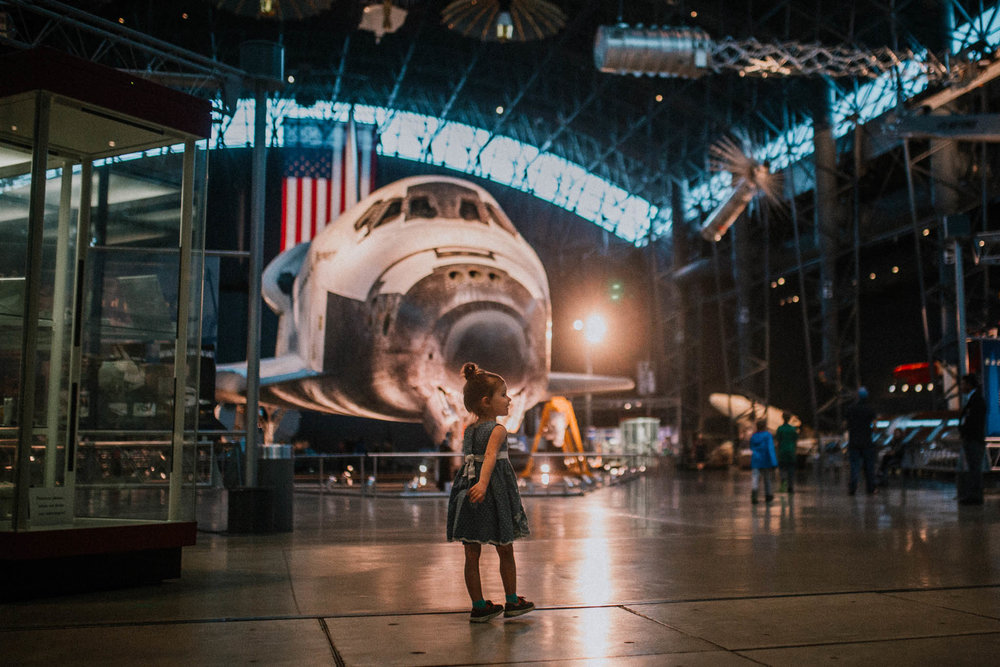 Udvar Hazy Air and Space Museum Space Shuttle Discovery Toddler Girl Ashburn Virginia Lifestyle Documentary Family Marti Austin Photography