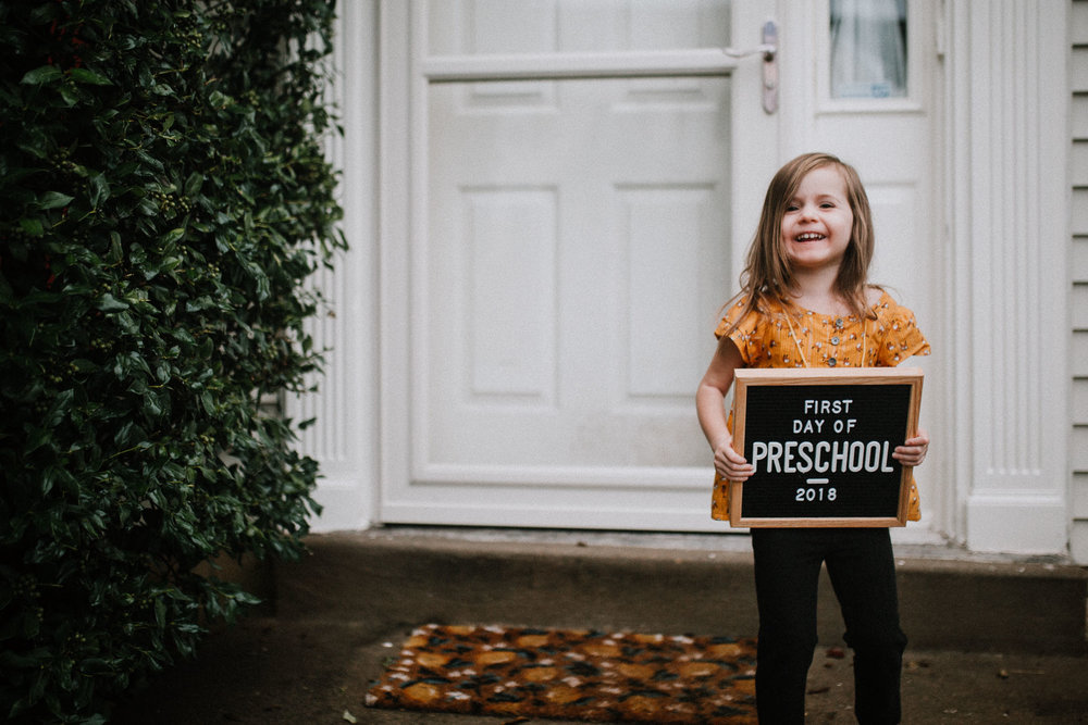 First Day of School 2018 Sign Toddler Girl Ashburn Virginia Lifestyle Documentary Family Marti Austin Photography