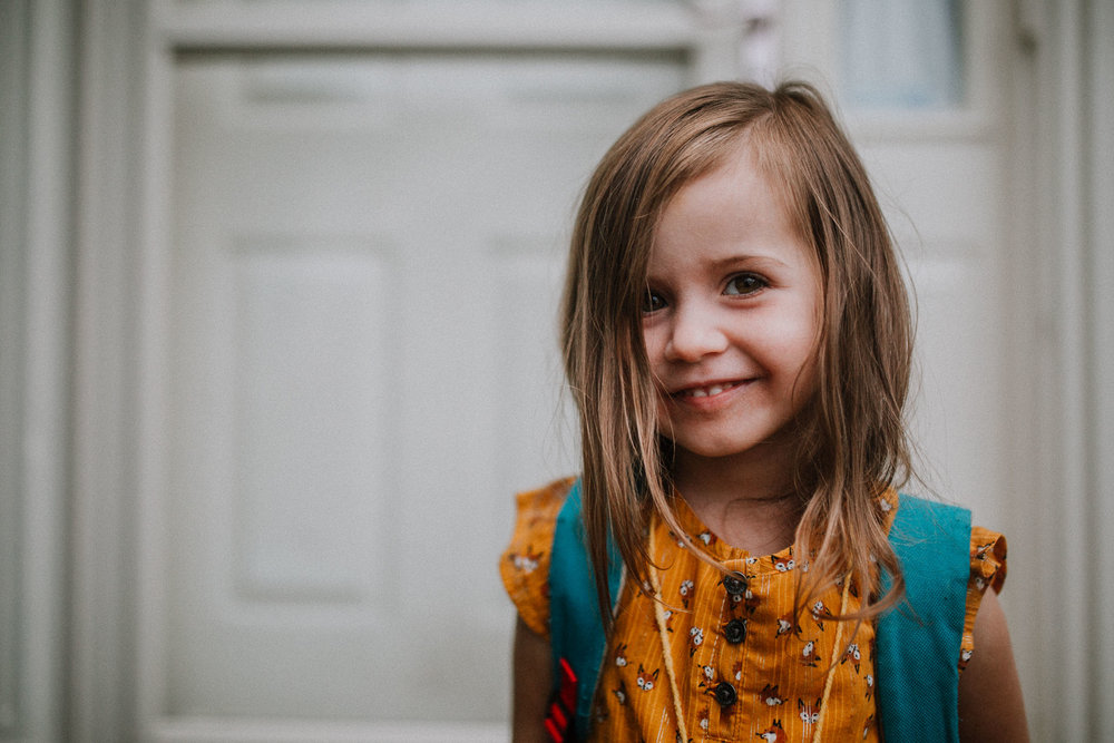 Portrait first day of school 2018 Toddler Girl Ashburn Virginia Lifestyle Documentary Family Marti Austin Photography