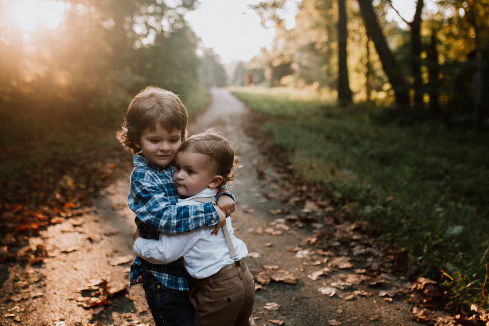 Brothers siblings hug Fall Autumn Cabell's Mill Ellanor C. Lawrence Chantilly Fairfax Virginia Lifestyle Documentary Family Marti Austin Photography