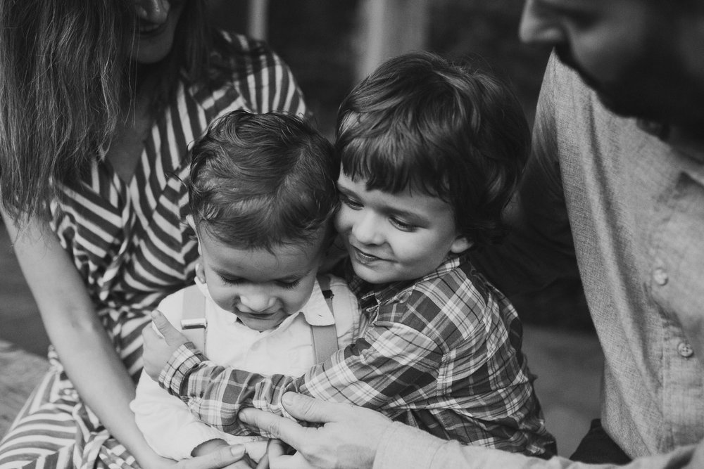 black and white bnw brothers siblings Fall Autumn Cabell's Mill Ellanor C. Lawrence Chantilly Fairfax Virginia Lifestyle Documentary Family Marti Austin Photography