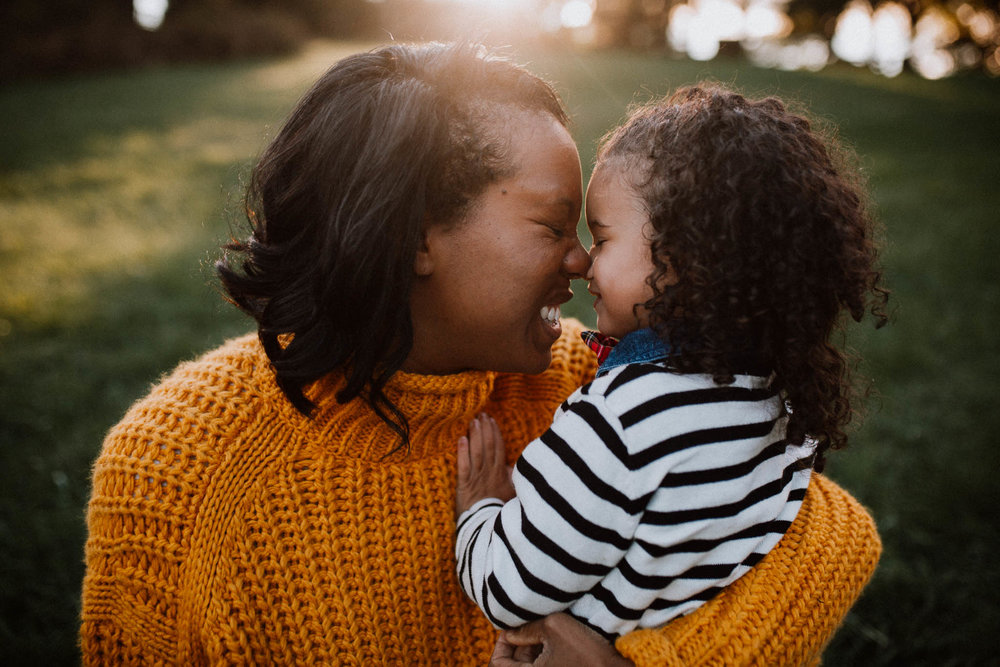 mother daughter nose kiss laugh sunset golden hour  fall autumn Wolf Trap Vienna Virginia Lifestyle Documentary Family Marti Austin Photography