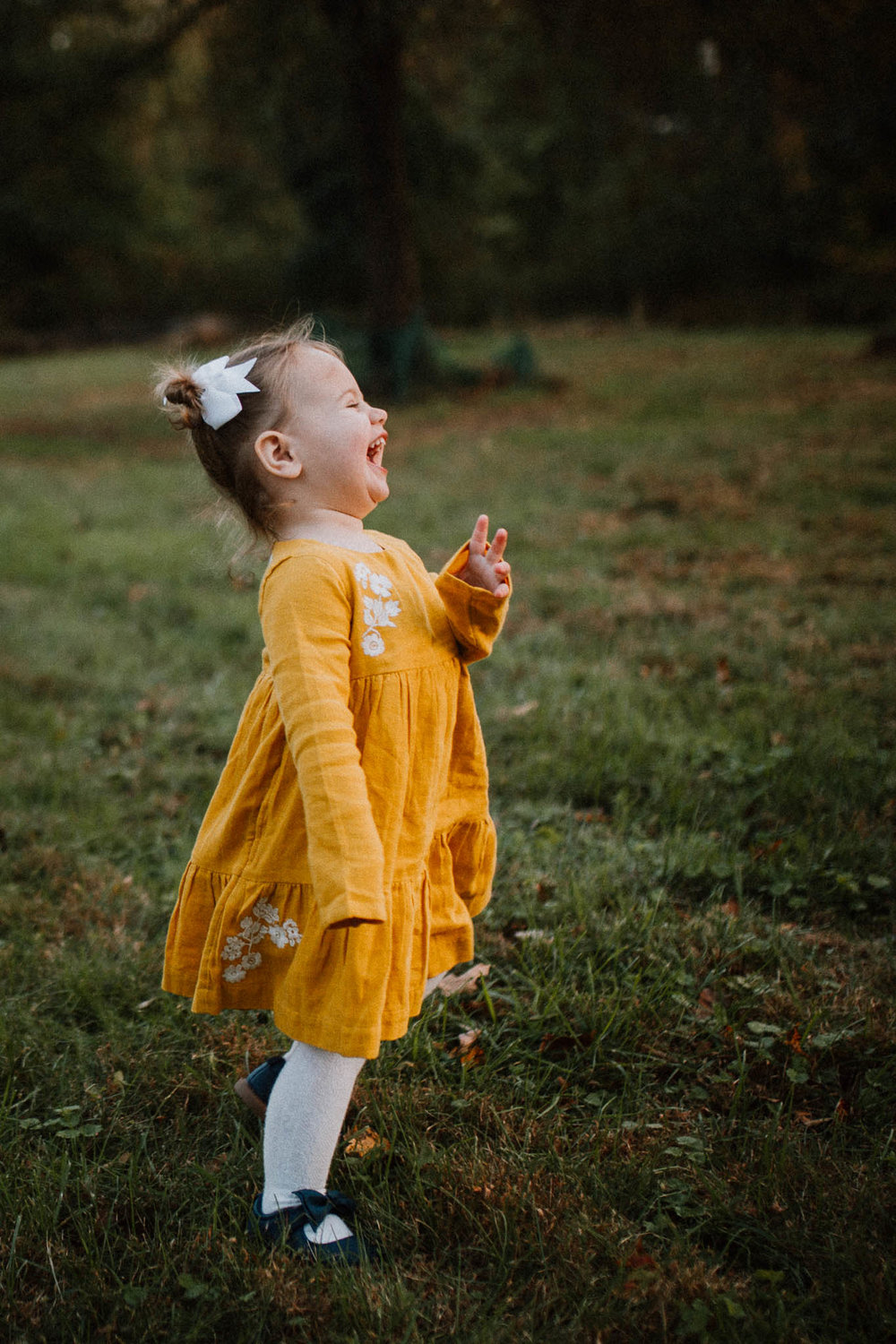toddler girl laughing twirling fall sunset family lifestyle documentary Colvin Run Mill Great Falls Virginia Marti Austin Photography
