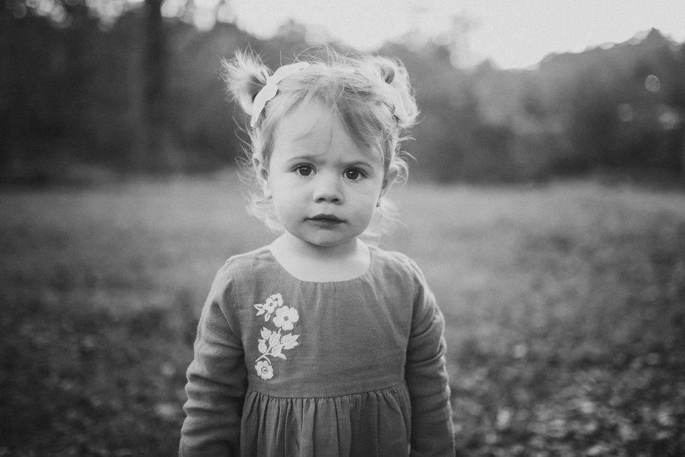 black and white toddler girl portrait fall sunset family lifestyle documentary Colvin Run Mill Great Falls Virginia Marti Austin Photography