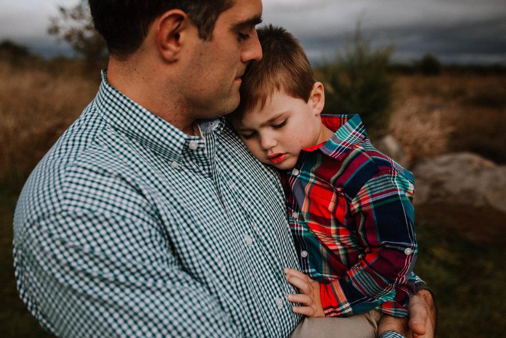 father son hug fall autumn lifestyle documentary family Beaverdam Run Ashburn Virginia Loudoun Marti Austin Photography