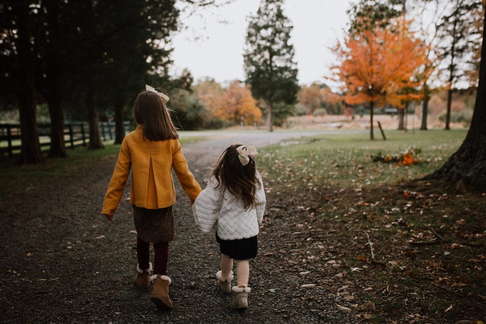 sisters siblings holding hands fall autumn family lifestyle documentary Heritage Farm Museum Claude Moore Park Sterling Virginia Marti Austin Photography