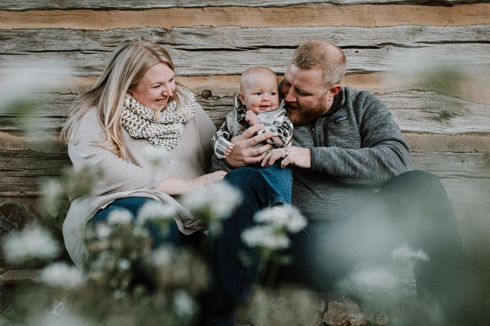 family portrait mother father son baby fall autumn lifestyle documentary family Historic Downtown Leesburg Loudoun Virginia Marti Austin Photography