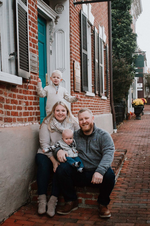 family of four fall autumn lifestyle documentary family Historic Downtown Leesburg Loudoun Virginia Marti Austin Photography