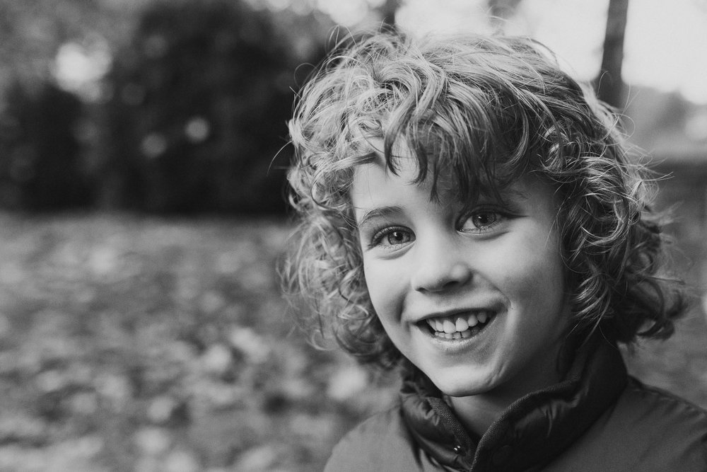 Black and white childhood boy portrait fall autumn family lifestyle documentary Morven Park Leesburg Loudoun Virginia Marti Austin Photography