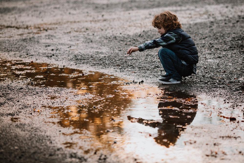 boy portrait puddle reflection fall autumn family lifestyle documentary Morven Park Leesburg Loudoun Virginia Marti Austin Photography