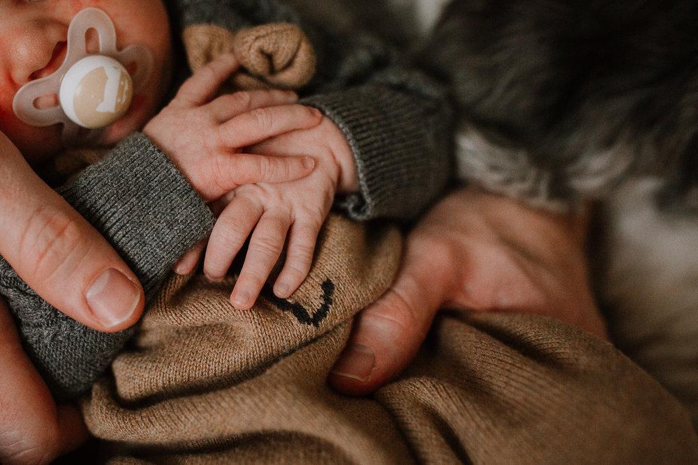 newborn baby boy hands details fall autumn lifestyle documentary family Great Falls Virginia Marti Austin Photography