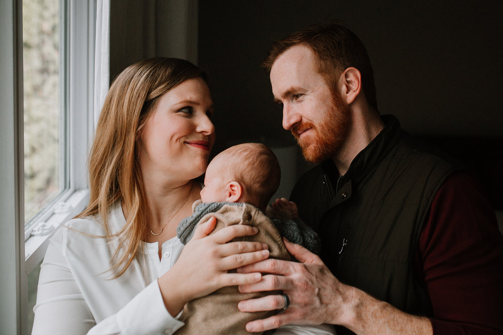 family of three mother father son fall autumn lifestyle documentary newborn family Great Falls Virginia Marti Austin Photography