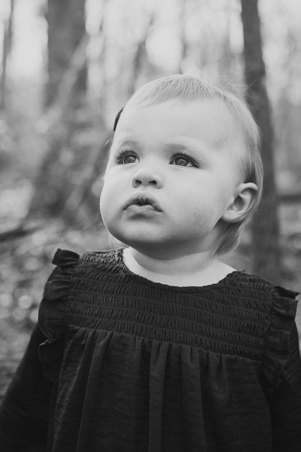 black and white toddler portrait outdoor lifestyle documentary family Great Falls Virginia Marti Austin Photography