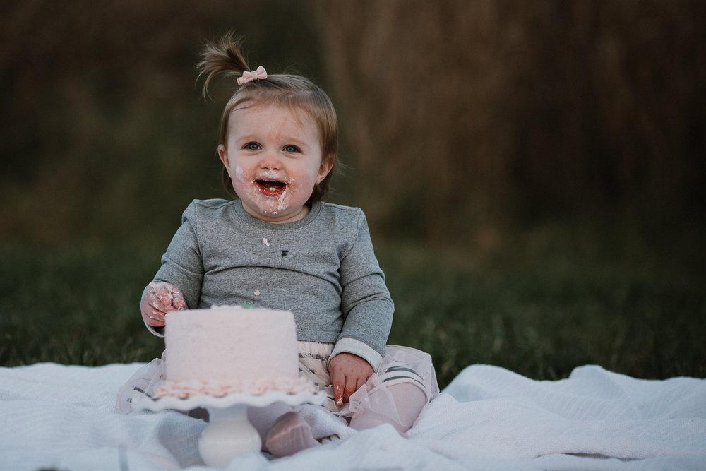 one year old baby girl Lifestyle Documentary Fall Autumn Sunset Golden Hour Family toddler first birthday cake smash Beaverdam Run Broadlands Loudoun Virginia Marti Austin Photography