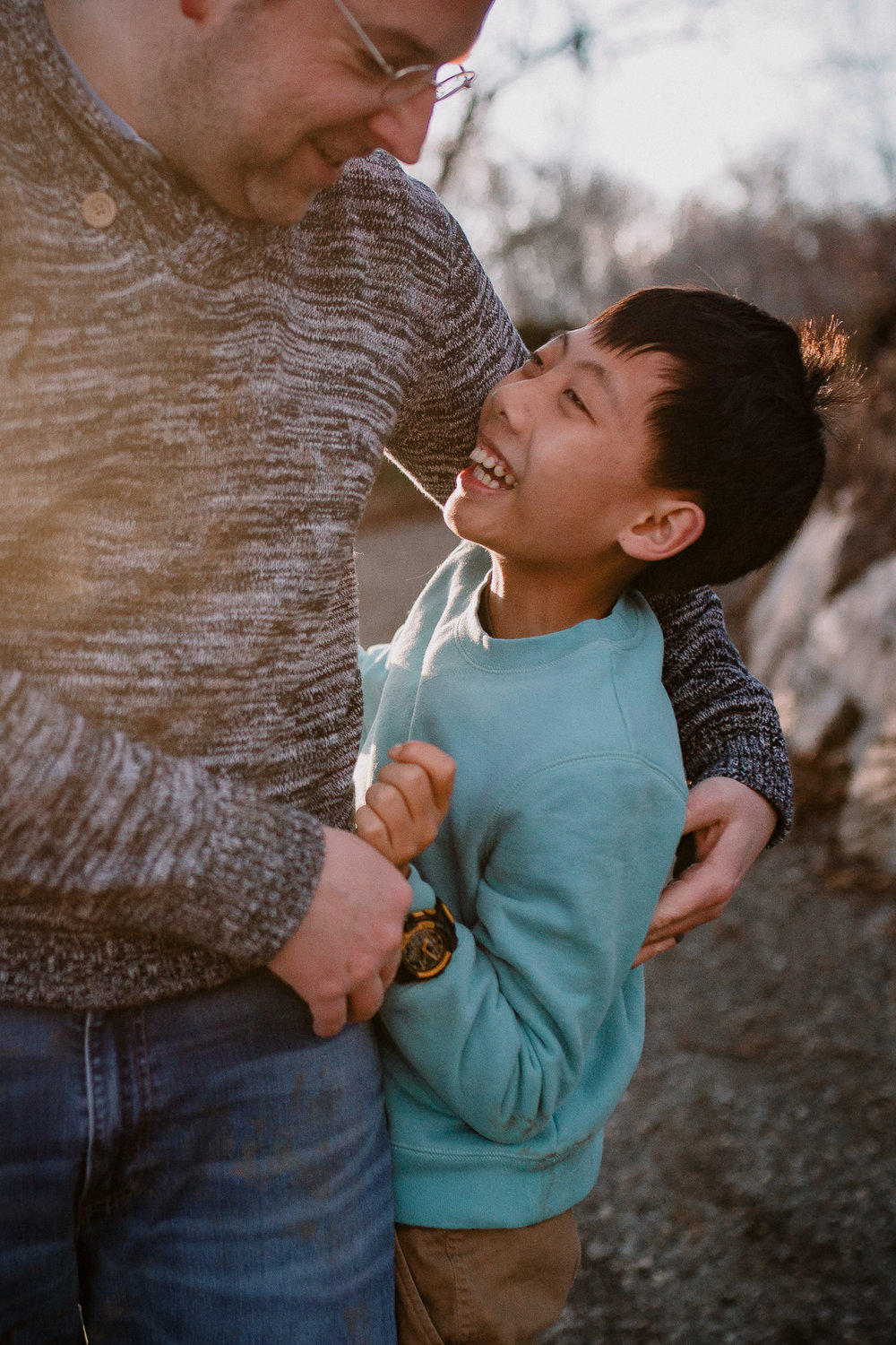 father son laugh tickle Lifestyle Documentary Found Families Adoption Outdoor Golden Hour Sunset Colvin Run Mill Great Falls Virginia Marti Austin Photography