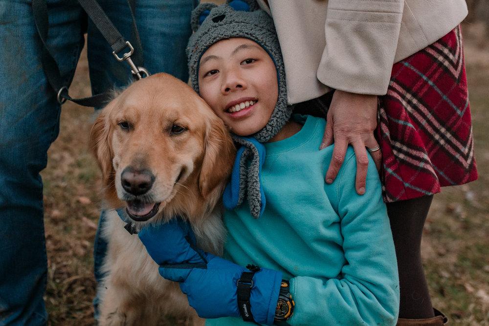 boy dog hug Lifestyle Documentary Found Families Adoption Outdoor Golden Hour Sunset Colvin Run Mill Great Falls Virginia Marti Austin Photography