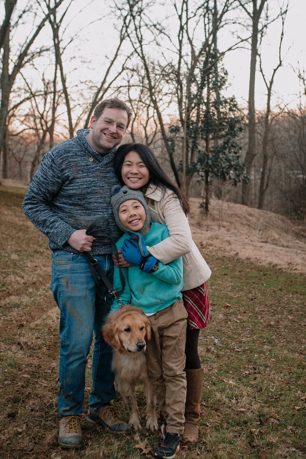 family portrait mother father son dog Lifestyle Documentary Found Families Adoption Outdoor Golden Hour Sunset Colvin Run Mill Great Falls Virginia Marti Austin Photography