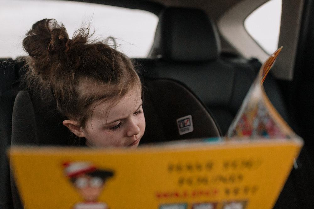 Where's Waldo book read car childhood lifestyle documentary Ashburn Virginia Marti Austin Photography