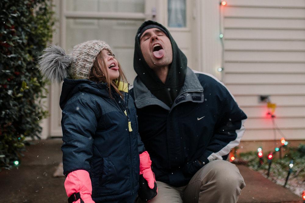 father daughter snow lights childhood lifestyle documentary Ashburn Virginia Marti Austin Photography