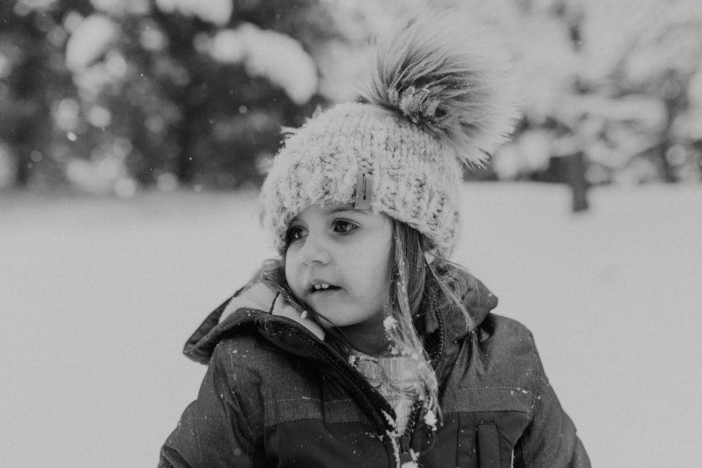 black and white snow day portrait childhood lifestyle documentary Ashburn Virginia Marti Austin Photography