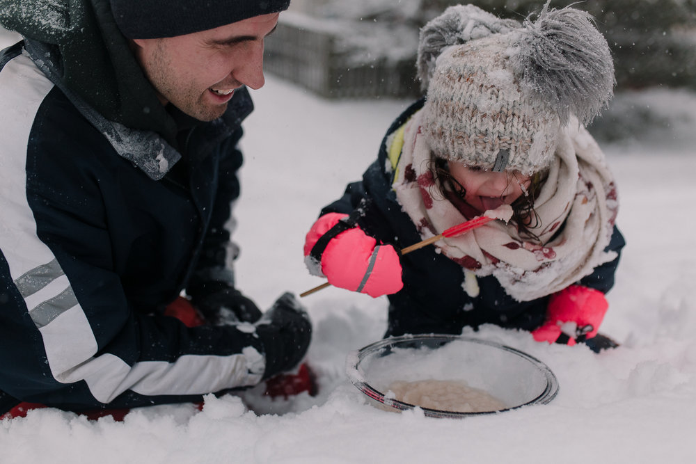 father daughter snow ice cream winter childhood lifestyle documentary Ashburn Virginia Marti Austin Photography