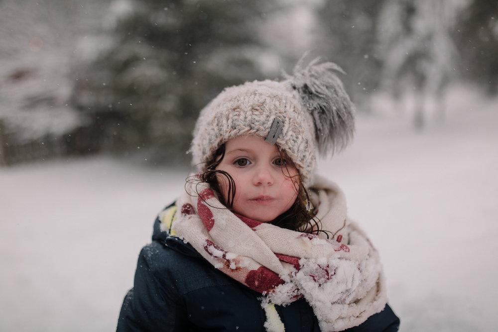 girl snow day portrait winter childhood lifestyle documentary Ashburn Virginia Marti Austin Photography