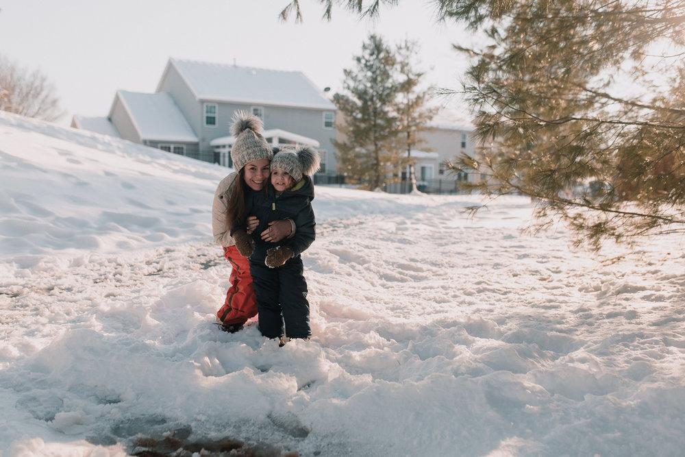 mother daughter snow winter childhood lifestyle documentary Ashburn Virginia Marti Austin Photography