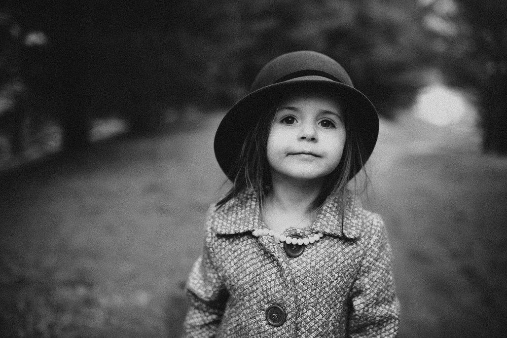 black and white girl portrait hat childhood lifestyle documentary Ashburn Virginia Marti Austin Photography