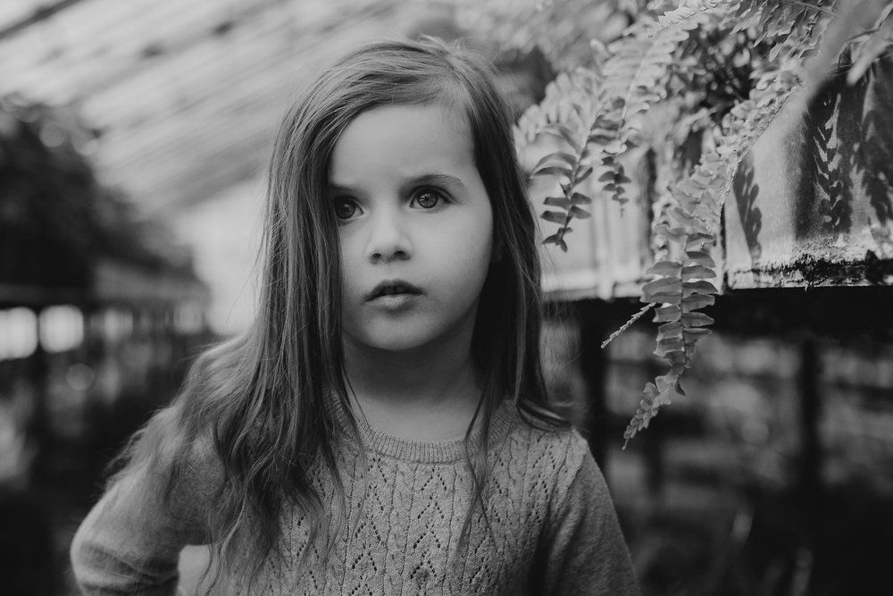 black and white portrait greenhouse plants lifestyle documentary family Ashburn Loudoun northern Virginia  childhood Marti Austin Photography