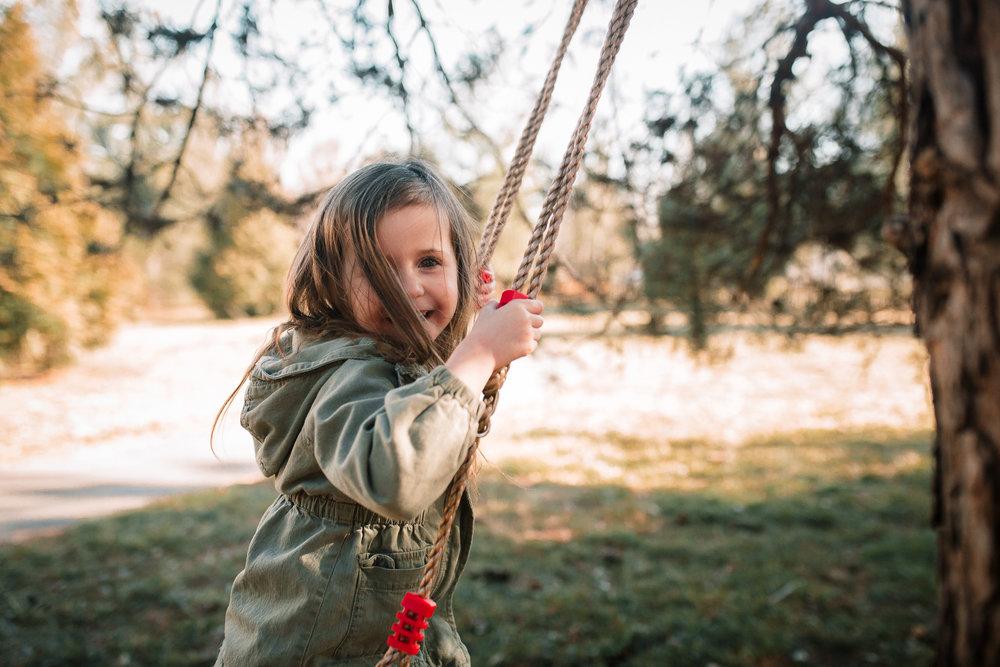 girl on swing at sunset lifestyle documentary family Ashburn Loudoun northern Virginia  childhood Marti Austin Photography