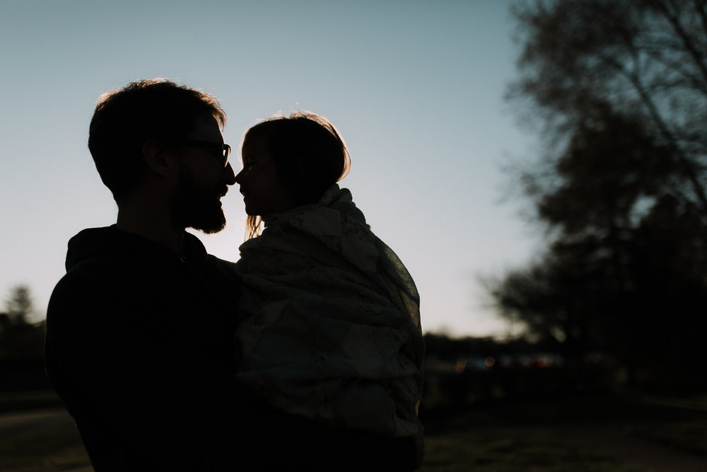 father daughter silhouette sunset blue hour lifestyle documentary family Ashburn Loudoun northern Virginia  childhood Marti Austin Photography